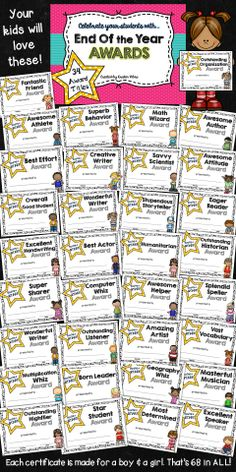End of the Year Award certificates your students will love!