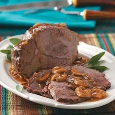 This meaty main course, served with a mouthwatering mushroom gravy, is a snap to assemble and pop in the oven.