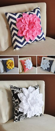 {Adorable Pillows} What a great way to add a quick dash of color to your home.