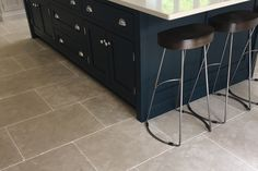 Bastille bleu limestone floor tiles: Hand-crafted using traditional techniques to replicate the authenticity of antique and reclaimed flooring.