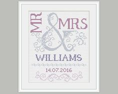 Scheme for cross stitch- Wedding Cross Stitch Pattern - Mr & Mrs- Wedding Gift - Embroidery- PDF - INSTANT DOWNLOAD