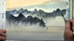 watercolor trees in the mist - YouTube #watercolorarts