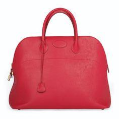 A Cherry Red Leather Bolide Bag, HERMÈS, 1994 #hermes #boilde