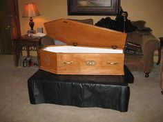 """Coffin - tutorial is for a coffin cooler, appears to be full sized, using 5/8"""" plywood, so a little on the high end side, but a nice prop/cooler all the same"""