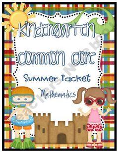 Kindergarten Common Core Summer Review practice pages & calendar!