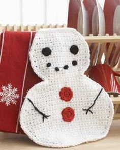Winter Snowman Dishcloth