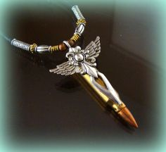 Brass BULLET with Winged CROSS PENDANT by BetsyStoinoffDesigns, $21.99