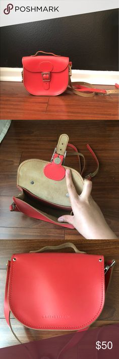 Small Cherry Read Leather Satchel Brand Brit Stitch. Small leather watcher color cherry red. Crossbody and adjustable strap. Used a few times only. Magnetic closure. Modcloth Bags Crossbody Bags
