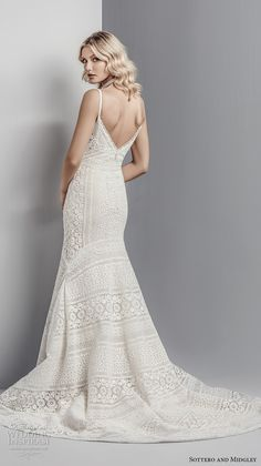 sottero midgley fall 2017 spaghetti strap v neck full embellishment romantic elegant lace mermaid wedding dress open v back chapel train (605) bv -- Sottero and Midgley Fall 2017 Wedding Dresses