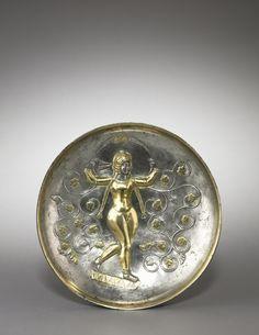 Dish: The Goddess Anahita,   Iran, Sasanian, 5th-6th Century
