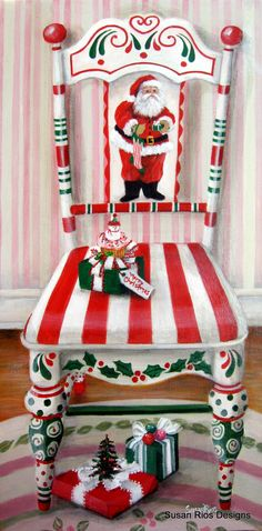 santa painted chair | My painting: Santa's Chair | Talented Artists/Beautiful Paintings! #PaintedChair