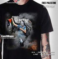 Kaos PALESTINA, Kaos INTIFADA, Kaos3D Free Palestine, Save Palestina, Kaos Pejuang Muslim, Kaos Muslim, https://instagram.com/kaos3dbagus, WA : 08222 128 3456, LINE : kaos3dbagus