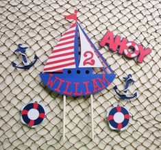 Personalized Sailboat Cake Topper Set, Nautical Theme Birthday by MyMixedMediaCrafts on Etsy