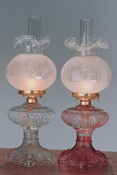Short Princess Feather Oil Lamps