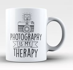 Photography is my therapy! The perfect coffee mug for any proud photographer! Order yours today. Take advantage of our Low Flat Rate Shipping - order 2 or more and save. - Printed and Shipped from the Oooh I want I need I must have