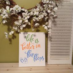 Life is Better in Flipflops Sign | Hand Lettered Wall Art | Summer D�cor | Hand Painted Sign | Calligraphy Art | Wood Sign