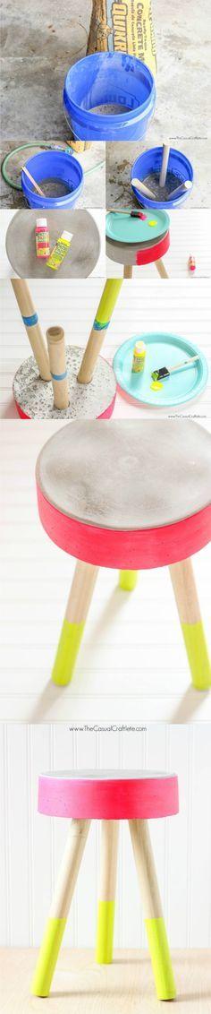 Taburete DIY de hormigón - thecasualcraftlete.com - DIY concrete stool