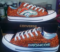 Custom Denver Broncos Orange With Blue Tongue