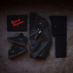Outfit grid - Black leather jacket day