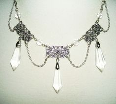 Art Deco CRYSTAL DROP FESTOON Necklace Silver Plated with Long Crystal Drops #KMEART