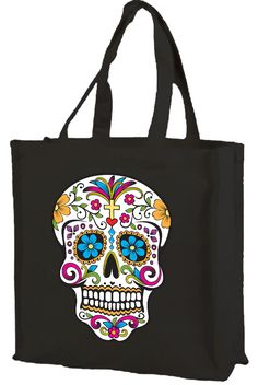 2 Day Of Dead Sugar Skull Halloween Trick Treat Handle Tote Bags Reusable New