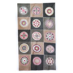 Tablecloths ~ African Circles Designs  large $150.00 USD. Tablecloth decorated with traditional African circle motif design, in a modern red and grey colourway.