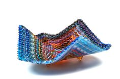 """Markow & Norris Woven Glass. They actually weave glass with new techniques they've developed. Intriquing! """"Eastern Sunset"""" #glass"""