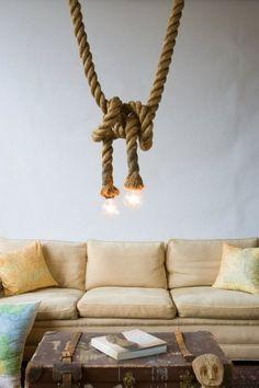 Rope light. Natural, rustic, unique chandelier