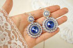 Bead woven earrings Sapphire. Beadwoven by RitaLovelyBeads on Etsy
