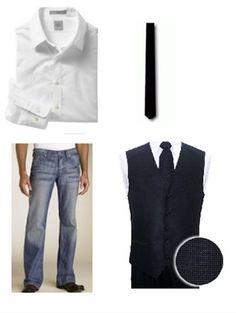 Sweater vest/skinny tie combo.  Very Becks.