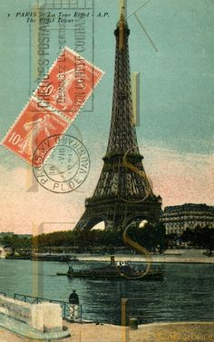 parisian postage pictures | Orange Postage Stamp EIFFEL Tower PARIS French postcard DIGITAL Scan