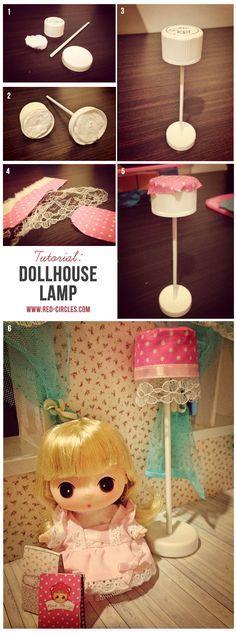 DIY Tutorial to make dollhouse lamp from trash stuff
