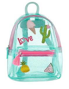 Buy Angels by Accessorize Blue Holiday Badge Jelly Backpack from the Next UK online shop Cute Mini Backpacks, Girl Backpacks, Cool School Supplies, Kawaii Bags, Transparent Bag, Accesorios Casual, Unicorn Fashion, Girls Bags, Cute Bags