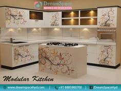 The L-shaped #Kitchen consists of work space on two adjoining walls perpendicular to each other.