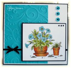 beautiful handmade card ... petunias in a pot colored with Promarkers ... pretty white and blue layout ... black thin lines and adornments ...
