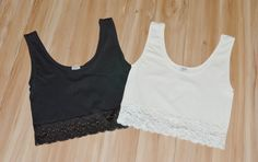 Out F/ Under Seamless Crop Top. Love that it's a cropped top and not a bra. The lacing is stylish.  I like both colors.