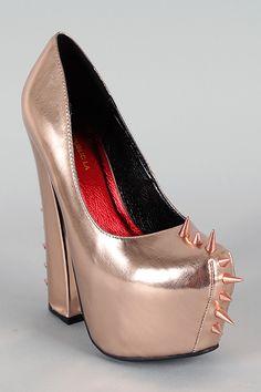Shoe Republic Bond Metallic Spike Platform Pump $51.90