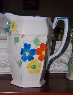 Vintage Arthur Wood Handpainted Floral Design Large Jug - Marked For 1934 - 1944