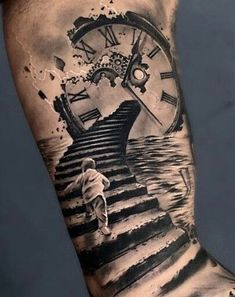 Our Website is the greatest collection of tattoos designs and artists. Find Inspirations for your next Clock Tattoo. Search for more Tattoos. Best Sleeve Tattoos, Tattoo Sleeve Designs, Clock Tattoo Sleeve, Tattoo Clock, Broken Clock Tattoo, Realistic Tattoo Sleeve, Clock Tattoo Design, Forearm Tattoos, Body Art Tattoos
