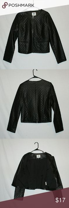 Old Navy quilted faux leather jacket Old Navy quilted faux leather jacket with liner, stylish jacket, good addition to any fall wardrobe,  no stains or tears, soft to the touch. Old Navy Jackets & Coats Vests
