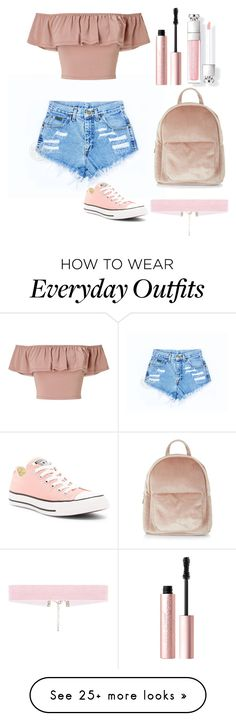 """""""everyday cute outfit"""" by glissy23 on Polyvore featuring Miss Selfridge, Converse, New Look and Too Faced Cosmetics"""