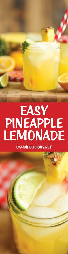 Pineapple Lemonade - So refreshing, so sweet, so tangy and just so wonderfully tropical. It's also unbelievably easy to whip up! So refreshing, so sweet, so tangy and just so wonderfully tropical. It's also unbelievably easy to whip up! Refreshing Drinks, Fun Drinks, Yummy Drinks, Healthy Drinks, Alcoholic Drinks, Yummy Food, Healthy Nutrition, Cold Drinks, Pineapple Lemonade
