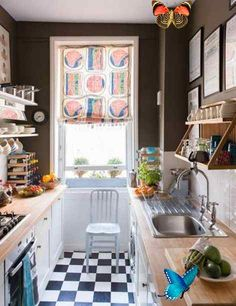 25 Space Saving Small Kitchens and Color Design Ideas for Small Spaces #smallkitchenideas Space saving layout, light kitchen colors, efficient lighting and functional, well organized and modern kitchen cabinets create beautiful, bright and airy small kitchens<br> White Galley Kitchens, Galley Kitchen Design, Galley Kitchen Remodel, Modern Kitchen Cabinets, Kitchen Flooring, Home Kitchens, Kitchen Decor, Small Kitchens, Kitchen Ideas