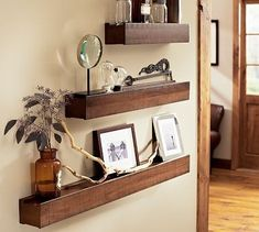Pottery Bard Rustic Wood shelves. I'd do two rows across the room with lots of mismatched frames!