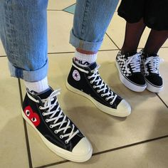 Vans and Converse Cdg Converse, Converse All Star, Sock Shoes, Shoe Boots, High Top Sneakers, Shoes Sneakers, Hype Shoes, Estilo Fashion, Dream Shoes