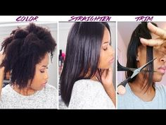 (How-To) Color, Straighten + Trim NATURAL HAIR! - YouTube