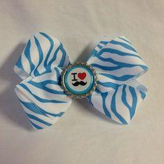 #bjsbowbows #bow #hairbow #zebraprint #blueandwhite #zebrabow #mustache #ilovemustaches #mustachebow #handmade #bottlecap