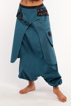 Plain cotton afghani style trousers with long wrap.  Goa Trance, Steampunk, Psytrance, Hippie,Boho,Tribal festival clothing. Pocket belts, hats and arm Warmers.Come visit our shops in Camden and Greenwich Markets http://gekko-london.com/style-gallery/25/75/617