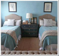 Teal.double beds. Dresser.love.