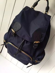 ed5566bf386a Burberry Large Rucksack In Technical Nylon And Leather Backpack Deep Blue      Real Purse
